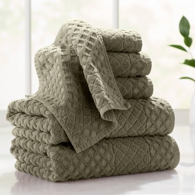 Flanagan 6-Piece Diamond Turkish Cotton Towel Set Color: Olive