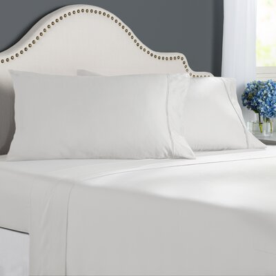 Clarke 300 Thread Count Cotton Sheet Set Size: Queen, Color: White
