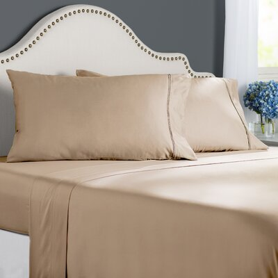 Clarke 300 Thread Count Cotton Sheet Set Size: Twin, Color: Sand