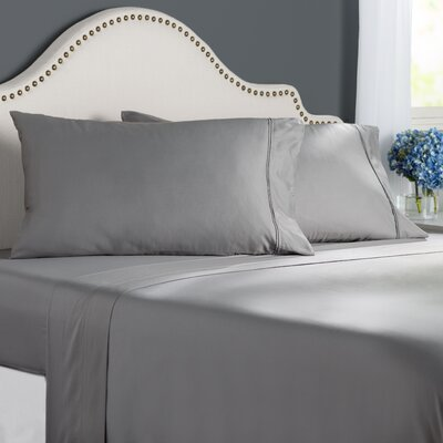 Clarke 300 Thread Count Cotton Sheet Set Size: Queen, Color: Pewter