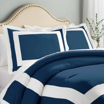 Orwell 4 Piece Comforter Set Color: Blue, Size: King