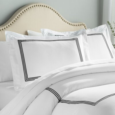 Stowe 3 Piece Duvet Cover Set Color: White / Black, Size: King