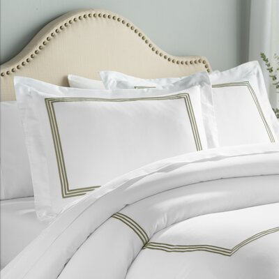 Stowe 3 Piece Duvet Cover Set Color: White / Taupe, Size: King