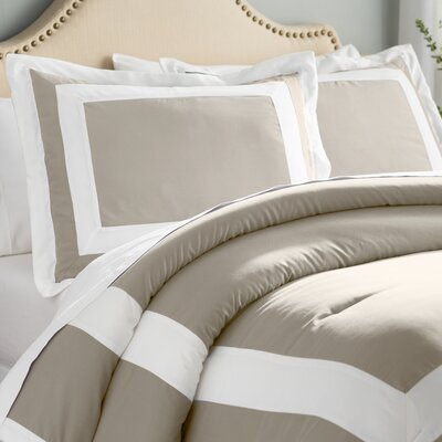 Orwell 4 Piece Comforter Set Color: Taupe, Size: King