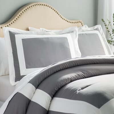 Orwell 4 Piece Comforter Set Color: Gray, Size: King