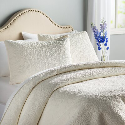 London Quilt Set Color: Off-White, Size: Full/Double; Queen