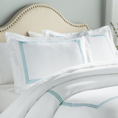 Stowe 3 Piece Duvet Cover Set Color: White / Blue, Size: King