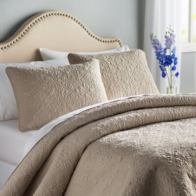 London Quilt Set Color: Taupe, Size: King