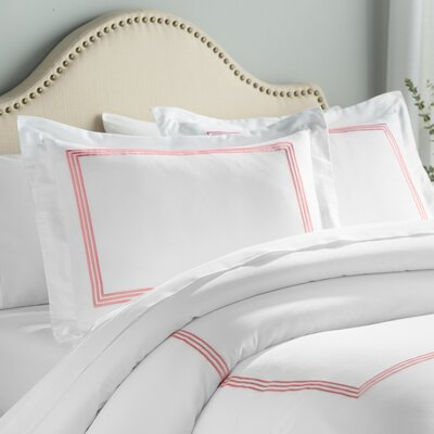 Stowe 3 Piece Duvet Cover Set Color: White / Coral, Size: Full / Queen