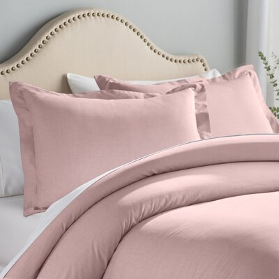 Hesse 3 Piece Reversible Duvet Cover Set Color: Crepe Pink, Size: Full/Queen