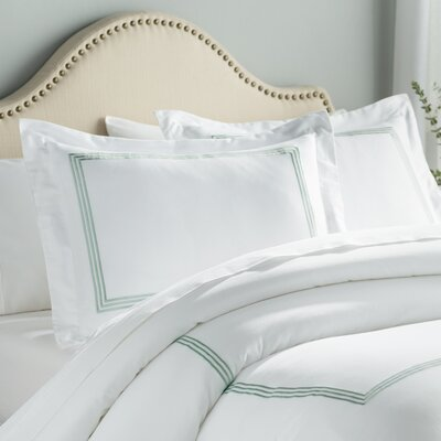 Stowe 3 Piece Duvet Cover Set Color: White / Sage, Size: Full / Queen