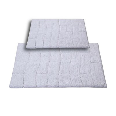 Brooks 2 Piece 100% Cotton New Tile Spray Latex Bath Rug Set Size: 24 H X 17 W and 34 H X 21 W, Color: White
