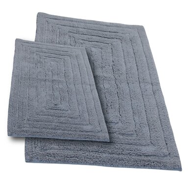 Irving 2 Piece 100% Cotton Racetrack Spray Latex Bath Rug Set Size: 24 H X 17 W and 30 H X 20 W, Color: Silver