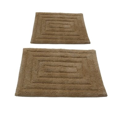 Irving 2 Piece 100% Cotton Racetrack Spray Latex Bath Rug Set Size: 24 H X 17 W and 34 H X 21 W, Color: Natural