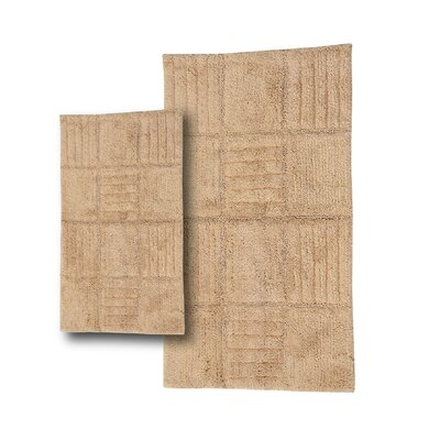 Conrad 2 Piece 100% Cotton Chakkar Board Spray Latex Bath Rug Set Size: 24 H X 17 W and 40 H X 24 W, Color: Natural