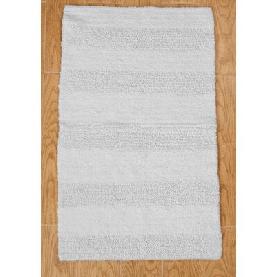Verne 100% Cotton Wide Cut Reversible Bath Rug Color: White, Size: 30 H X 20 W