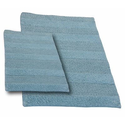 Verne 2 Piece 100% Cotton Wide Cut Reversible Bath Rug Set Color: Light Blue, Size: 34 H X 21 W and 40 H X 24 W