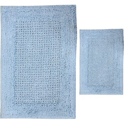 Grahame 2 Piece 100% Cotton Naples Spray Latex Bath Rug Set Size: 30 H X 20 W and 40 H X 24 W, Color: Light Blue