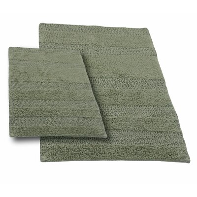 Verne 2 Piece 100% Cotton Wide Cut Reversible Bath Rug Set Color: Light Sage, Size: 24 H X 17 W and 34 H X 21 W