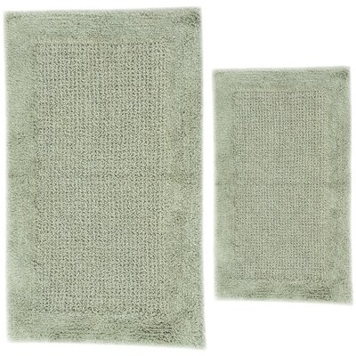 Grahame 2 Piece 100% Cotton Naples Spray Latex Bath Rug Set Size: 24 H X 17 W and 40 H X 24 W, Color: Light Sage