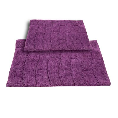Brooks 2 Piece 100% Cotton New Tile Spray Latex Bath Rug Set Size: 24 H X 17 W and 34 H X 21 W, Color: Aubergine