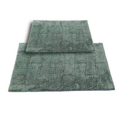 Brooks 2 Piece 100% Cotton New Tile Spray Latex Bath Rug Set Color: Green, Size: 24 H X 17 W and 34 H X 21 W