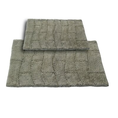 Brooks 2 Piece 100% Cotton New Tile Spray Latex Bath Rug Set Color: Light Sage, Size: 24 H X 17 W and 34 H X 21 W