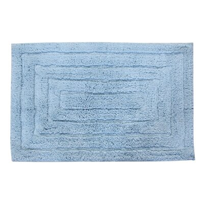 Irving 100% Cotton Racetrack Spray Latex Back Bath Rug Size: 24 H X 17 W, Color: Light Blue