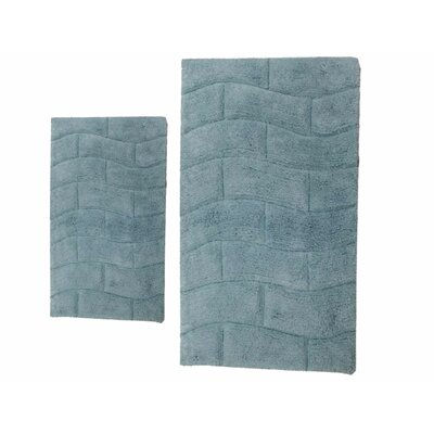 Brooks 2 Piece 100% Cotton New Tile Spray Latex Bath Rug Set Size: 24 H X 17 W and 34 H X 21 W, Color: Light Blue