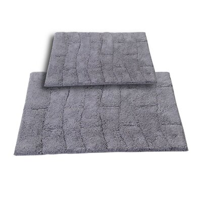 Brooks 2 Piece 100% Cotton New Tile Spray Latex Bath Rug Set Size: 24 H X 17 W and 34 H X 21 W, Color: Silver
