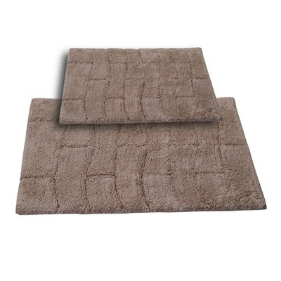Brooks 2 Piece 100% Cotton New Tile Spray Latex Bath Rug Set Size: 24 H X 17 W and 34 H X 21 W, Color: Natural