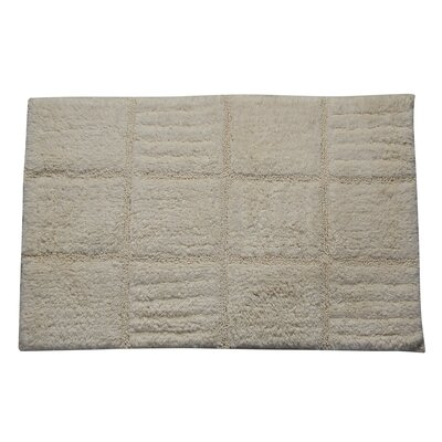 Conrad 100% Cotton Chakkar Board Spray Latex Back Bath Rug Color: Ivory, Size: 40 H X 24 W