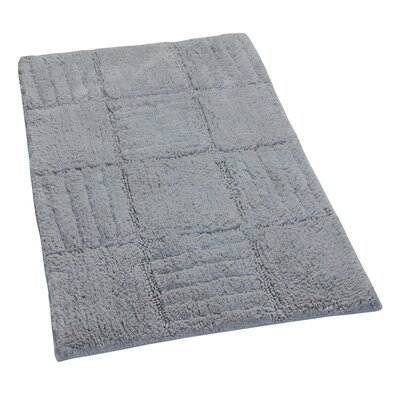 Conrad 100% Cotton Chakkar Board Spray Latex Back Bath Rug Size: 24 H X 17 W, Color: Silver