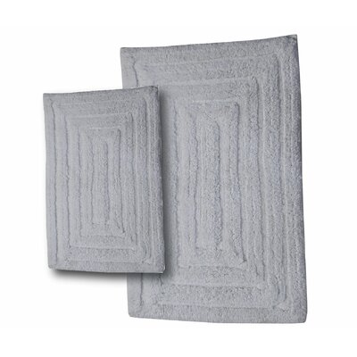Irving 2 Piece 100% Cotton Racetrack Spray Latex Bath Rug Set Size: 34 H X 21 W and 40 H X 24 W, Color: White