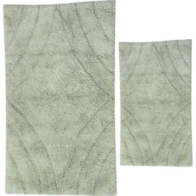 Barnes 2 Piece 100% Cotton Diamond Spray Latex Bath Rug Set Color: Light Sage, Size: 24 H X 17 W and 30 H X 20 W