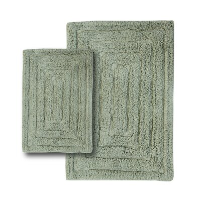 Irving 2 Piece 100% Cotton Racetrack Spray Latex Bath Rug Set Size: 24 H X 17 W and 34 H X 21 W, Color: Light Sage