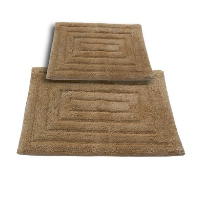 Irving 2 Piece 100% Cotton Racetrack Spray Latex Bath Rug Set Size: 24 H X 17 W and 40 H X 24 W, Color: Taupe