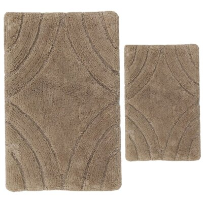 Barnes 2 Piece 100% Cotton Diamond Spray Latex Bath Rug Set Size: 24 H X 17 W and 30 H X 20 W, Color: Stone