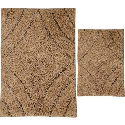 Barnes 2 Piece 100% Cotton Diamond Spray Latex Bath Rug Set Size: 30 H X 20 W and 40 H X 24 W, Color: Taupe
