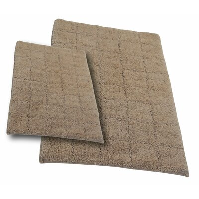 Tanner 2 Piece 100% Cotton Summer Tile Spray Latex Bath Rug Set Size: 24 H X 17 W and 40 H X 24 W, Color: Natural