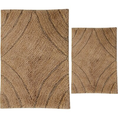 Barnes 2 Piece 100% Cotton Diamond Spray Latex Bath Rug Set Size: 34 H X 21 W and 40 H X 24 W, Color: Natural