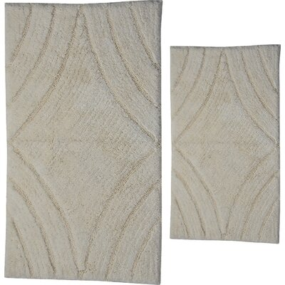 Barnes 2 Piece 100% Cotton Diamond Spray Latex Bath Rug Set Size: 24 H X 17 W and 34 H X 21 W, Color: Ivory