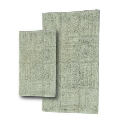 Conrad 2 Piece 100% Cotton Chakkar Board Spray Latex Bath Rug Set Size: 24 H X 17 W and 34 H X 21 W, Color: Light Sage