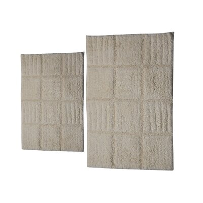Conrad 2 Piece 100% Cotton Chakkar Board Spray Latex Bath Rug Set Size: 24 H X 17 W and 30 H X 20 W, Color: Ivory