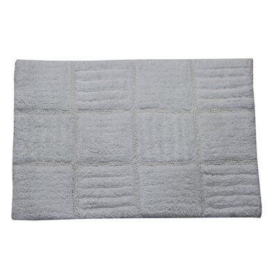 Conrad 100% Cotton Chakkar Board Spray Latex Back Bath Rug Size: 24 H X 17 W, Color: White