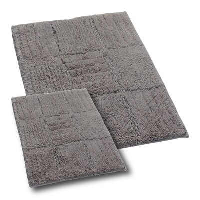 Conrad 2 Piece 100% Cotton Chakkar Board Spray Latex Bath Rug Set Size: 24 H X 17 W and 30 H X 20 W, Color: Stone