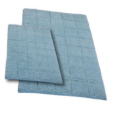 Tanner 2 Piece 100% Cotton Summer Tile Spray Latex Bath Rug Set Size: 24 H X 17 W and 34 H X 21 W, Color: Light Blue