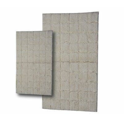 Tanner 2 Piece 100% Cotton Summer Tile Spray Latex Bath Rug Set Size: 24 H X 17 W and 34 H X 21 W, Color: Ivory