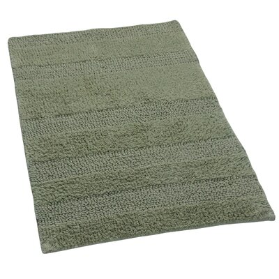 Verne 100% Cotton Wide Cut Reversible Bath Rug Color: Light Sage, Size: 24 H X 17 W