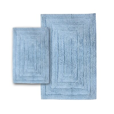 Irving 2 Piece 100% Cotton Racetrack Spray Latex Bath Rug Set Size: 24 H X 17 W and 40 H X 24 W, Color: Light Blue